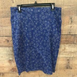 LuLaRoe Cassie Pencil Skirt Blue Gray Floral Large